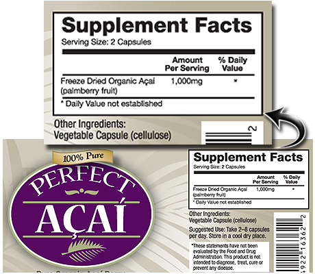 Perfect Acai ingredients label