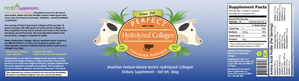 Perfect Hydrolyzed Collagen ingredients label