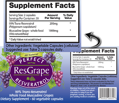 Perfect Resgrape ingredients label