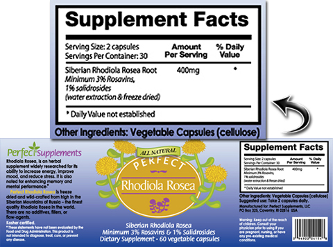 Perfect Rhodiola Rosea ingredients label